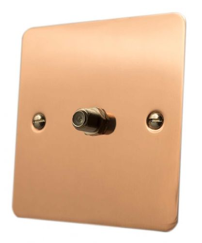 G&H FBC37 Flat Plate Bright Copper 1 Gang Single Satellite Point Socket